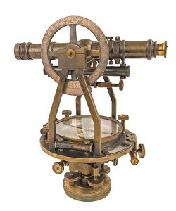 Antique surveying equipment.